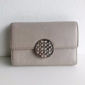 COACH Leather Flap Trifold Wallet